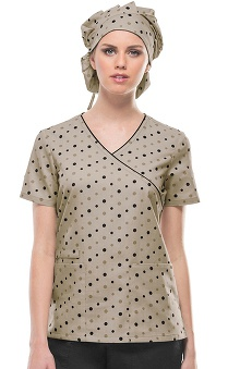 Cherokee Women's Mock Wrap Dots Print Scrub Top