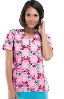 Cherokee Women's Mock Wrap Fox Print Scrub Top