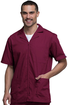 dental : Cherokee Workwear Men's Zip Front Solid Scrub Jacket