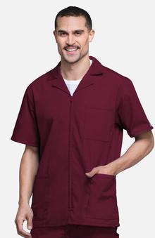 dental : Cherokee Workwear Men's Zip Front Solid Scrub Jacket