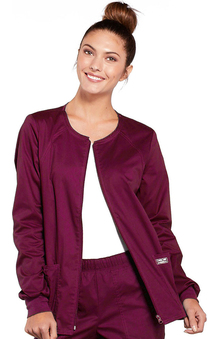 Core Stretch by Cherokee Workwear Women's Warm Up Solid Scrub Jacket