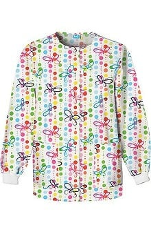 Scrub H.Q. by Cherokee Women's Crew Neck Butterfly Dots Print Jacket