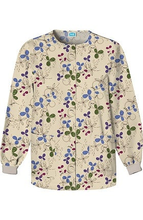 Scrub H.Q. by Cherokee Women's Crew Neck Floral Print Jacket