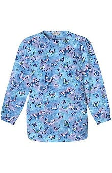 pink ribbon scrubs: Scrub H.Q. by Cherokee Women's Crew Neck Butterfly Print Jacket
