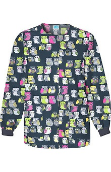pink ribbon scrubs: Scrub H.Q. by Cherokee Women's Crew Neck Owl Print Jacket