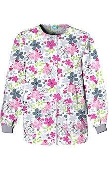 pink ribbon scrubs: Scrub H.Q. by Cherokee Women's Crew Neck Print Jacket