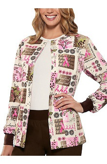 Clearance Scrub H.Q. by Cherokee Women's Crew Neck Tree of Hope Print Jacket