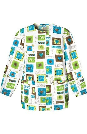 Scrub H.Q. by Cherokee Women's Crew Neck Heart Print Jacket