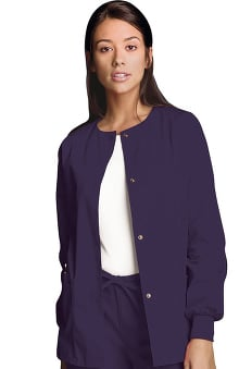 cna uniforms: Cherokee Workwear Women's Jewel Neck Warmup Solid Scrub Jacket