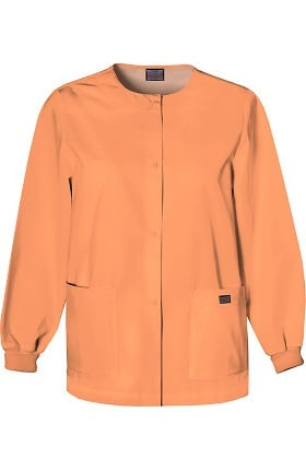 Cherokee Workwear Women's Jewel Neck Warmup Solid Scrub Jacket