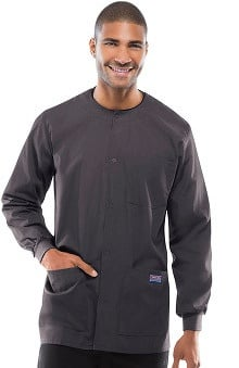 Cherokee Workwear Men's Snap Front Solid Scrub Jacket