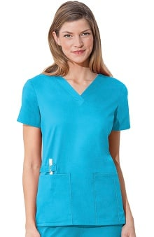 Clearance WW Flex by Cherokee Workwear with Certainty Antimicrobial Fabric Technology Women's V-Neck Solid Scrub Top