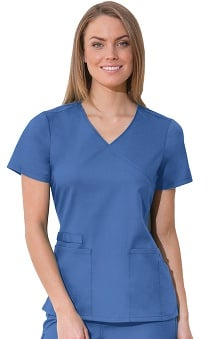 Clearance WW Flex by Cherokee Workwear with Certainty Antimicrobial Fabric Technology Women's Mock Wrap Solid Scrub Top