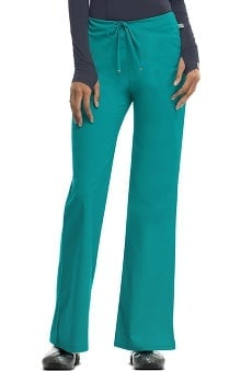 code happy™ with Certainty Antimicrobial Fabric Technology Women's Mid-Rise Flare Leg Drawstring Scrub Pant