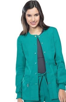 code happy™ with Certainty Antimicrobial Fabric Technology Women's Round Neck Warm Up Scrub Jacket