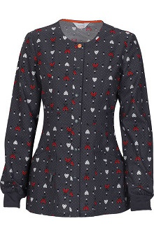 code happy™ with Certainty Antimicrobial Fabric Technology Women's Snap Front Heart Print Warm Up Scrub Jacket