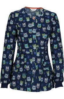 code happy™ with Certainty Antimicrobial Fabric Technology Women's Snap Front Owl Print Warm Up Scrub Jacket