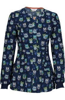 code happy™ with Antimicrobial Certainty Women's Snap Front Owl Print Warm Up Scrub Jacket