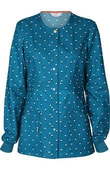 code happy™ with Antimicrobial Certainty Women's Snap Front Dot Print Warm Up Scrub Jacket