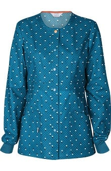 code happy™ with Certainty Antimicrobial Fabric Technology Women's Snap Front Dot Print Warm Up Scrub Jacket