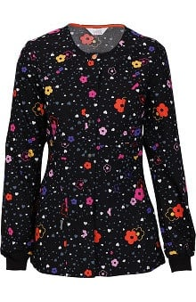 code happy™ with Antimicrobial Certainty Women's Snap Front Floral Print Warm Up Scrub Jacket