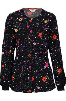 code happy™ with Certainty Antimicrobial Fabric Technology Women's Snap Front Floral Print Warm Up Scrub Jacket