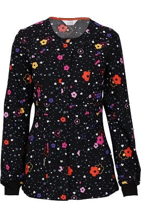 Clearance code happy Women's Snap Front Floral Print Warm Up Scrub Jacket