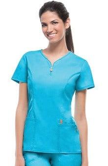 code happy™ Women's Zipper V-Neck Solid Scrub Top