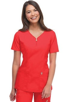 code happy™ with Antimicrobial and Fluid Barrier Certainty Plus Women's Zip V-Neck Solid Scrub Top