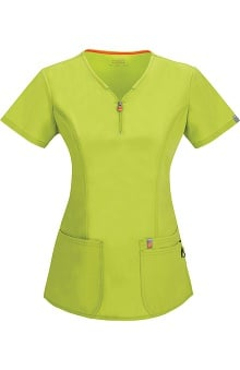 Clearance code happy™ Women's Zipper V-Neck Solid Scrub Top