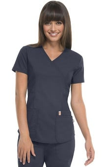 code happy™ with Certainty Antimicrobial Fabric Technology Women's Princess Seam Mock Wrap Scrub Top