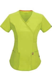 Clearance code happy™ Women's Princess Seam Mock Wrap Scrub Top
