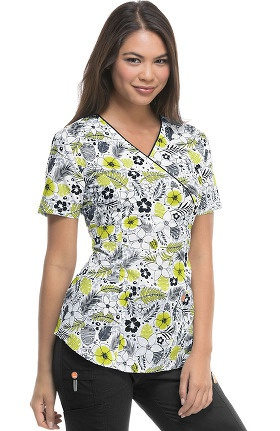 Clearance code happy Women's Mock Wrap Tropical Print Scrub Top