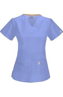 code happy™ with Certainty Antimicrobial Fabric Technology Women's Princess Seam V-Neck Scrub Top