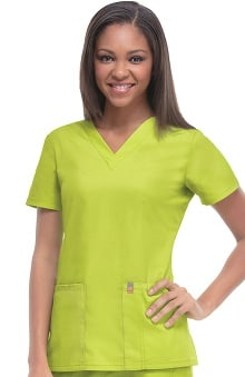 code happy™ with Antimicrobial Certainty Women's Princess Seam V-Neck Scrub Top