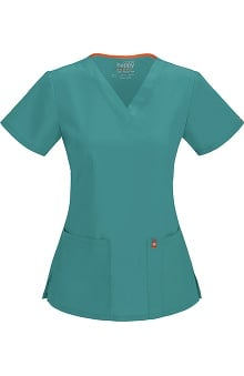 code happy™ with Antimicrobial and Fluid Barrier Certainty Plus Women's Princess Seam V-Neck Solid Scrub Top