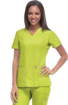 Clearance code happy™ Women's Princess Seam V-Neck Solid Scrub Top