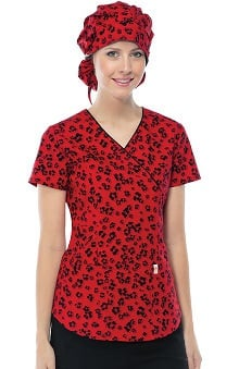 code happy™ with Antimicrobial Certainty Women's Mock Wrap Leopard Print Scrub Top
