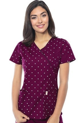 Clearance code happy Women's Mock Wrap Dot Print Scrub Top