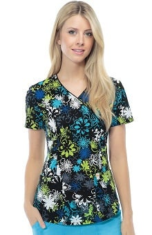 code happy™ with Certainty Antimicrobial Fabric Technology Women's V-Neck Floral Print Scrub Top
