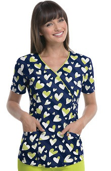 code happy™ with Antimicrobial Certainty Women's V-Neck Navy Heart Print Scrub Top