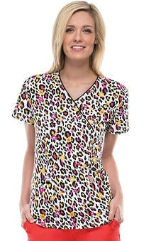 code happy™ with Antimicrobial Certainty Women's V-Neck Cheetah Print Scrub Top