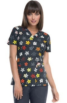 code happy™ Women's V-Neck Floral Print Scrub Top