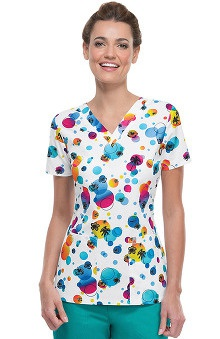 code happy™ Women's V-Neck Delightful Dots Print Scrub Top