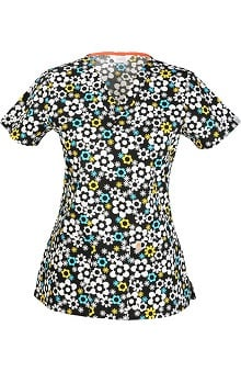 code happy With Antimicrobial Certainty Women's V-Neck Floral Print Scrub Top