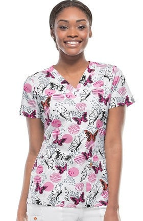 Clearance code happy Women's V-Neck Butterfly Print Scrub Top