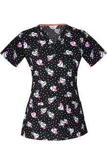 code happy™ Women's V-Neck BCA Print Scrub Top