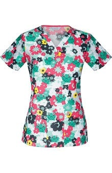 code happy™ Women's V-Neck Frog Print Scrub Top