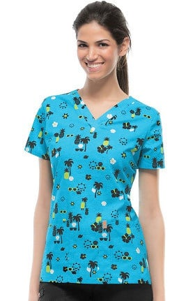 Clearance code happy Women's V-Neck Tropical Print Scrub Top