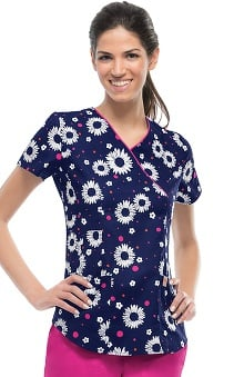 code happy™ Women's Mock Wrap Daisy Print Scrub Top